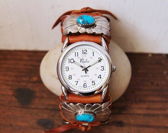 CWC-05, handmade adjustable cuff watch with repurposed vintage concho