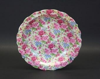 Vintage Colorful Chintz Scalloped Edge Bowl (E6436)