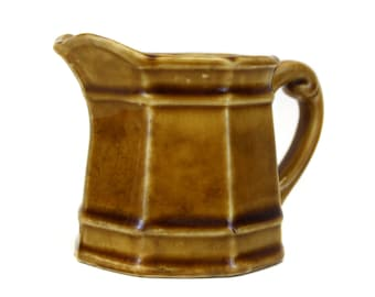 Vintage Stone Craft by Royal Sealy Small Brown Ceramic Pitcher (E1010)