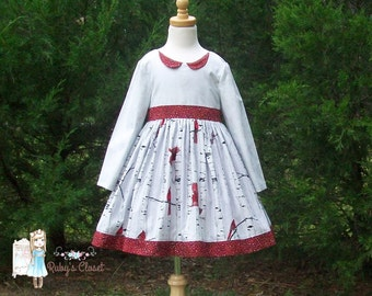 Woodsy Christmas Dress---size 12mos. -10y