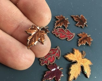 ENAMEL leaves . metal leaves. guilloche finding. jewelry component .  maple leaves - finding No.00861