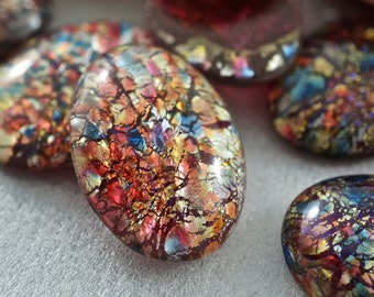 6 Dragons Breath Opal Glass Cabochons, 18x13mm Foil Cabochon . Harlequin Flat Back Glass Cabs - vintage  No.001004