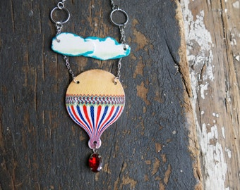 Hot air Balloon Necklace Statement Whimsical Gift Vintage Inspired Adventure Awaits Lover Travel Traveller Gift for Her Quirky Unique Design