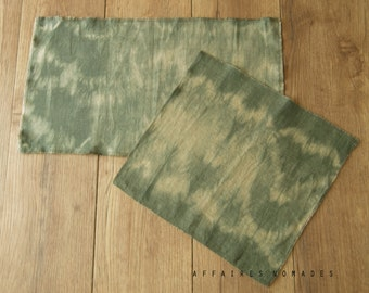 Tribal inspired Set of 2 Hand dyed tissue. Placemat. Wall art. Linen .. colors Sage / HYPHEN