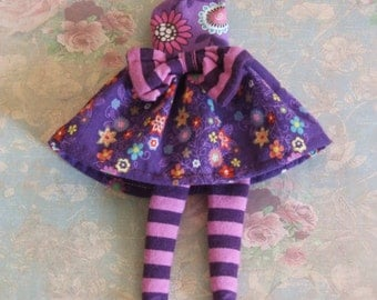 Ooak Custom Blythe Purple Pink Orange Aqua Yellow Lavender Floral Hippie Print Cotton Dress Striped Bow Stockings