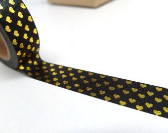 Heart Washi Tape - Mini Heart Washi Tape - Black and Gold Heart Washi Tape - Love Gift Wrap