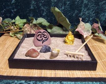 Zen Garden with 1 Engraved Stone OM HEART Rock