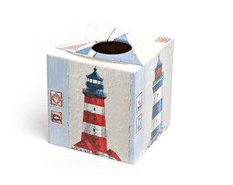 Tissue Box Cover Lighthouse wooden blue and red perfect in homes/ hotels