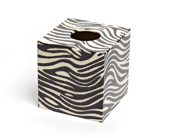 Zebra Print  Design Tissue Box Cover Wooden Handmade