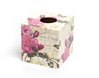 Paris Rose Tissue Box Cover wooden perfect in homes/ hotels