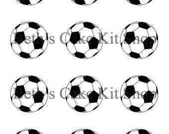 Soccer Ball Cupcake Toppers DIY Printable Download