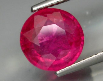 Large Natural Bright Pinkish Red Ruby Faceted Round 9 MM, 3.17 Ct, Hard To Find Size