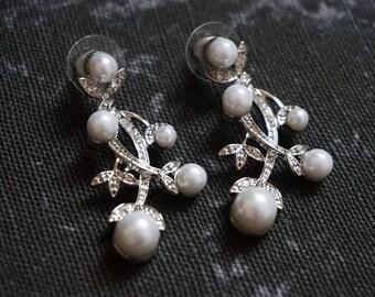 Crystal & white pearl drop bridal earrings