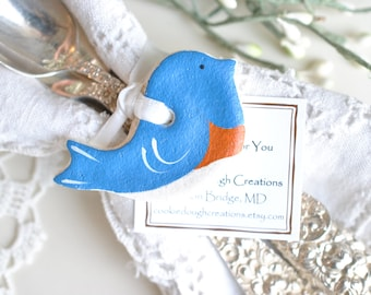 Blue Bird Decorations Set of 10 Mini 2 Inch Salt Dough Party Favor Napkin Ring Ornaments
