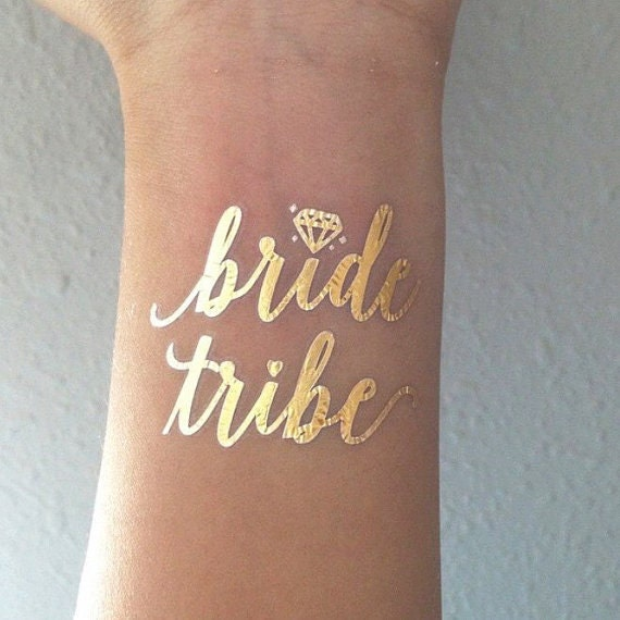 Gold metallic flash bachelorette party temporary tattoos for Bachelorette party tattoos