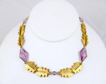 Art Deco Purple Faceted Art Glass Brass Geometric Choker Necklace