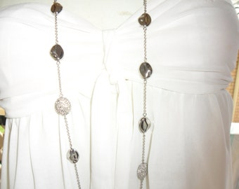 Authentic Vintage Stunningly Beautiful Long Silver Chain Alternating Between Shinny Silver Beads And Rhinestone Beads
