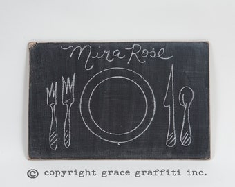 Set of 4 Wooden Chalkboard Placemat Chargers - Distressed Rectangle - Entertaining