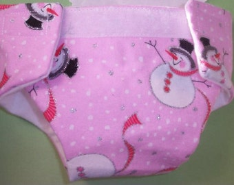 Ready to Ship #2 cloth Doll diaper Christmas snowman top hat  adjusts washable fits cabbage patch bitty baby fur real monkey stuffed animals