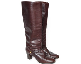 Oxblood Brown Equestrian Knee High Boots, Size 7.5