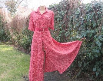 Long Dress / Dress Vintage / Buttoned Dress / Maxi / Size EUR44 / UK16 / Viscose / Slit on Back