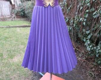 Pleated Skirt / Pleated Skirts / Skirt Vintage / Violet Pleated Skirt /  Size EUR48 / 50 / UK20 / 22 / Elastic Waist / Lining
