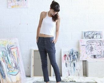 Womens trousers ,Grey Skinny pants, Linen Pants, Drark Grey.