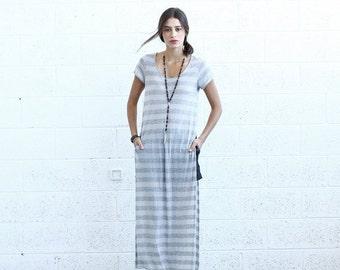 Summer Sale SALE! Striped Maxi T-shirt dress, Light Gray.