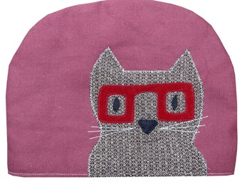 Geek cat in glasses, large teapot tea cosy in burgundy red