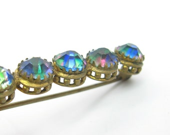 Bar Pin. Victorian Bohemian Glass Brooch. Heliotrope Glass. Rainbow Colors. Rhinestones & Gold Gilt. Gablonz Antique 1900s Victorian Jewelry