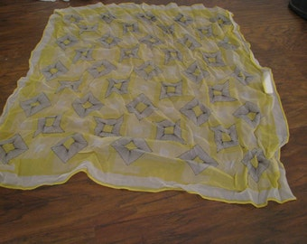 1950s sheer yellow and black atomic print chiffon mid century scarf