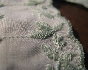 TWO  yards of 1.5 inch wide fancy white and sage green embroidered trim from 1960s  perfect condition