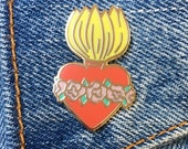 Flaming Heart Pin, Burning Heart, Hard Enamel Pin, Sacred Heart, Corazon, Mexican Icon, Religious Kitsch, Jewelry, Gift, Art (PIN28)