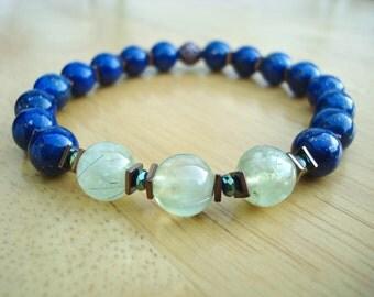 Men's Unconditional Love, Healing, Protection Bracelet with Semi Precious Prehnite, Lapis Lazuli, Hematites and Copper, Meditation Bracelet