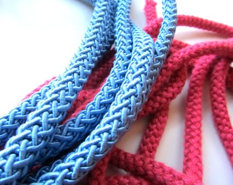 Round Braid Cording, Blue and Pink