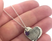 FINGERPRINT necklace, Large heart fingerprint, made from JPEG image of Fingerprint or Thumbprint, keepsake jewelry