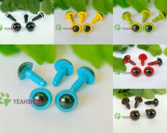 10mm Colorful Safety Eyes Plastic Doll Eyes - Clear / Yellow / Grass Green / Blue / Red / Brown