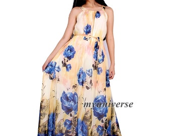 Dress Women Plus Sizes Clothing Long Maxi Dress Floral Bridesmaid Dress Casual Beach Party Wedding Guest Cream Yellow Blue Chiffon
