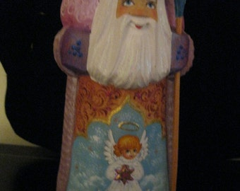Collectible Carved Russian Santa  with ANGEL.  Hand carved & hand painted on wood in Russia. BEAUTIFUL WORKMANSHIP.  Ship from Usa worldwide