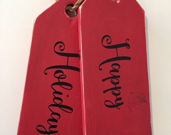 """LIMITED EDITION - Jumbo Tag """"Happy Holidays"""" door hanging - wall decor - holiday decor - Wood - hand painted Red"""