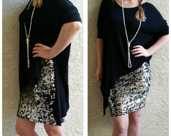 SALE til 11/23 CLEARANCE Silver and Black Sequin Pencil Skirt - 20 inches S,M,L,XL