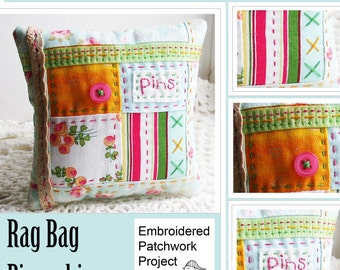 Four Patch Patchwork Embroidered Pincushion Sewing Pattern