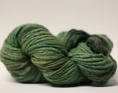 Thick and Thin Yarn Slub TTS Handdyed  Fine Merino 66tts12016 Camo Green