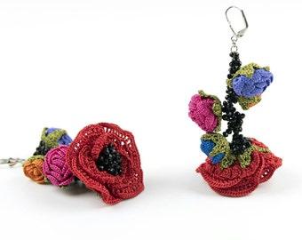 Earrings-Ethnic Handmade Crochet Long Dangle Rose Earrings, Crystal Beaded Earrings, Flower Earrings, Nature Jewelery, Floral, Nonallergic