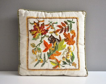 Vintage Crewel Embroidered Fall Pillow - Squirrel and Fall Leaves