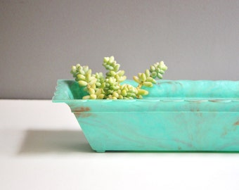 Mid-Century Turquoise Scalloped Window Planter