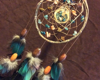Love For The Mother Dream Catcher- Beaded Dream Catcher with a very RARE Hart shaped Walnut Shell