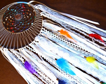 Chakra Moon Dream Catcher- Moon Motions Signature Dream Catcher - with Ribbons and Lepidolite - Made to Order