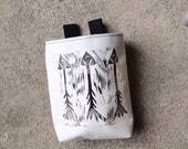 ARROWS..handcarved, blockprinted, rock climbing chalk bag..1-3day order