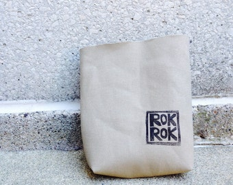 chalkbag, chalkbags, linoprint ROKROK, khaki, handprinted, blockprint, rockclimbing, chalkbag --ships in 1-3 days.